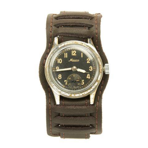 Original German WWII Wehrmacht D-H Watch by Minerva - Rare High End Maker
