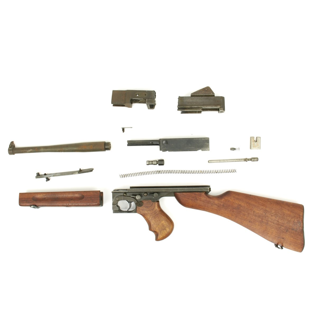 Original Us Wwii Thompson M1a1 Smg Parts Set With Original Barrel