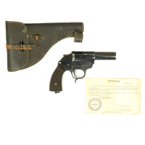 Original German WWII Erma Model 34 Leuchtpistole LP34 Dated 1937 with Original Holster and Bring Back Certificate