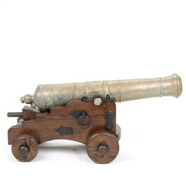 Original Late 18th Century Bronze 3-Pounder Grasshopper Cannon with Oak Naval Carriage