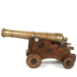Original 18th Century 6-Pounder Saker Bronze Cannon with Oak Naval Carriage