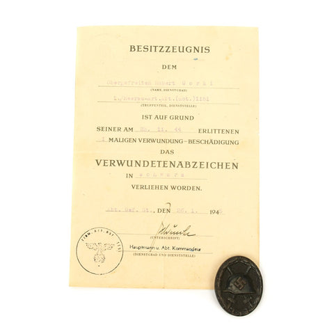 Original German WWII Black Wound Badge with Named Award Document - Dated 1945