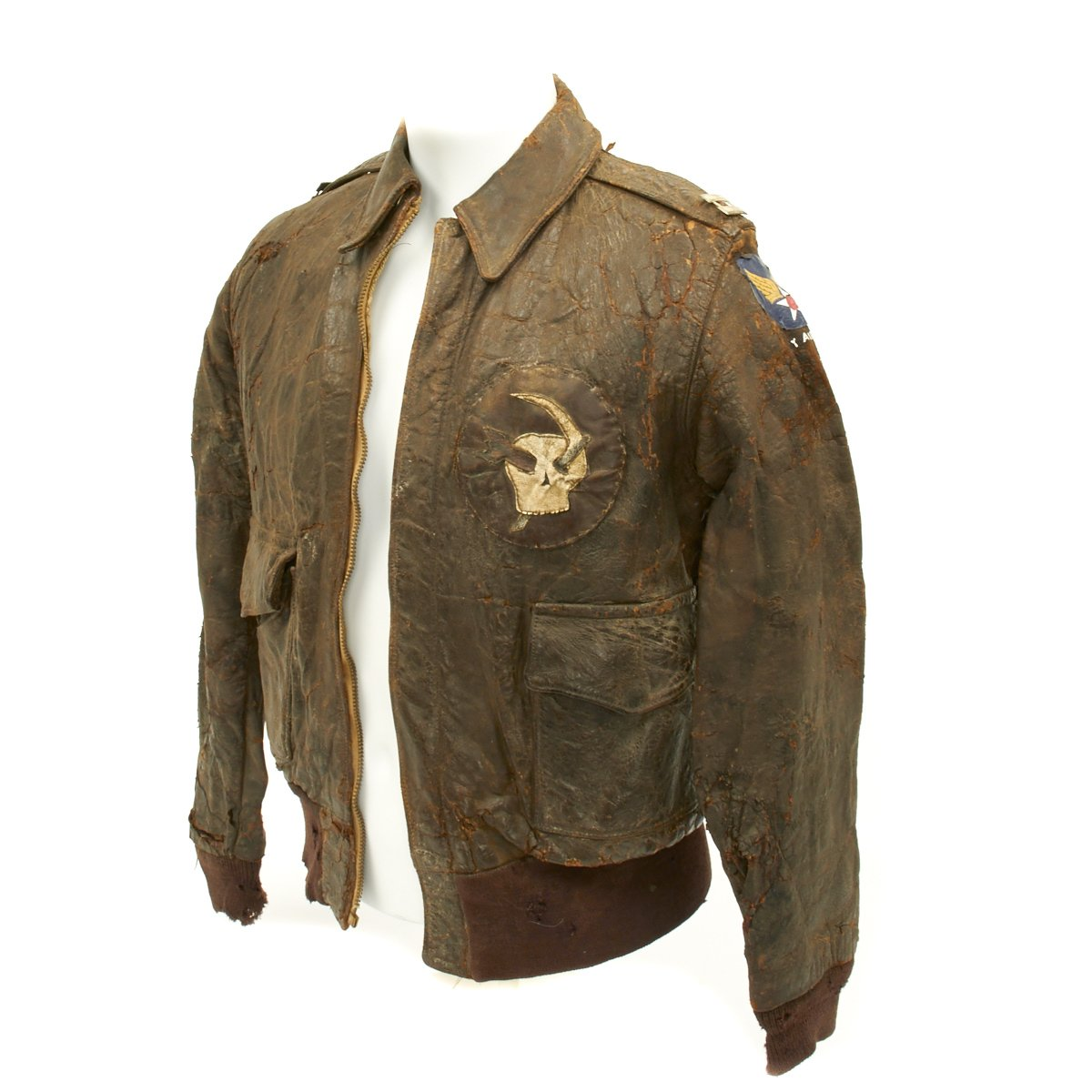 2ed2763ce85 Original U.S. WWII Army Air Force Type A2 Leather Flight Jacket with  Squadron Patch