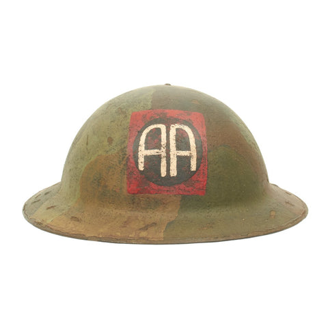 "Original U.S. WWI M1917 Refurbished Doughboy Camouflage Helmet of the 82nd Division ""All American"""