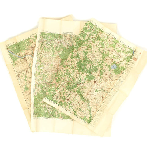 Original British WWII 1944 Color Maps of Germany (Koblenz, Mayen, Altenkirchen) - Set of 3
