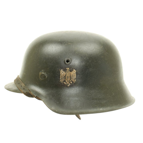 Original German WWII Named Army Heer M42 Single Decal Helmet - ET66