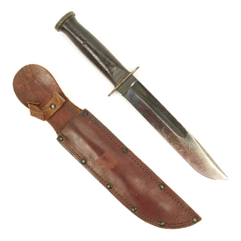 Original WWII Western G-46-8 Fighting Knife with Leather Scabbard