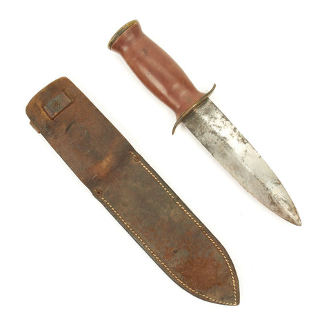 Original WWII Personalized Spear-Point Fighting Knife with Bakelite Handle and Leather Scabbard