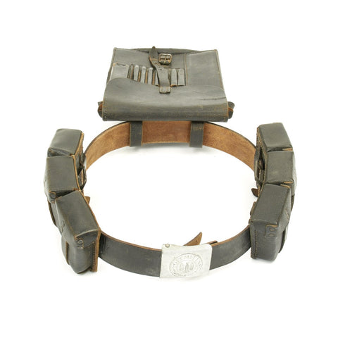 Original German WWII Army Heer Belt with Aluminum Buckle, 98k Triple Pouches and Map Case