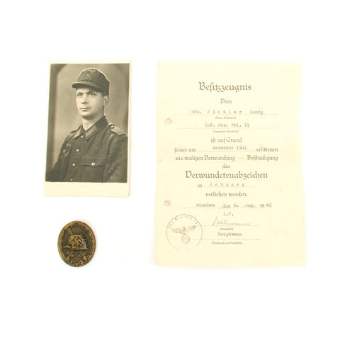 Original German WWII Black Wound Badge with Named Award Document and Photo - Dated 1942