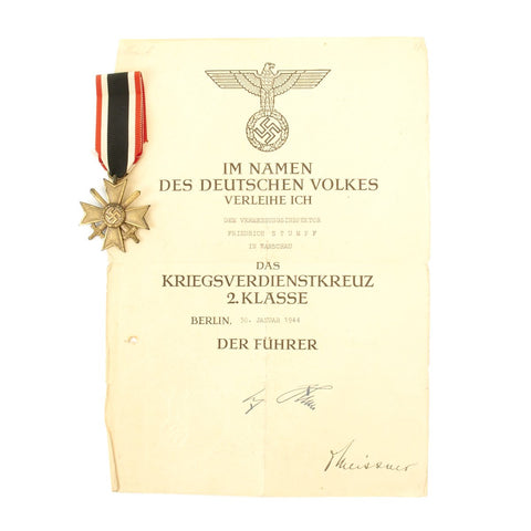 Original German WWII War Merit Cross 2nd Class with Crossed Swords Pin and Award Document