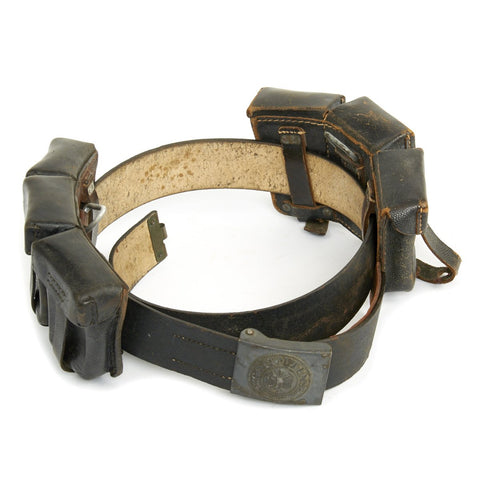 Original German WWII Kreigsmarine Belt with KM Marked Pouches - 1942 Dated