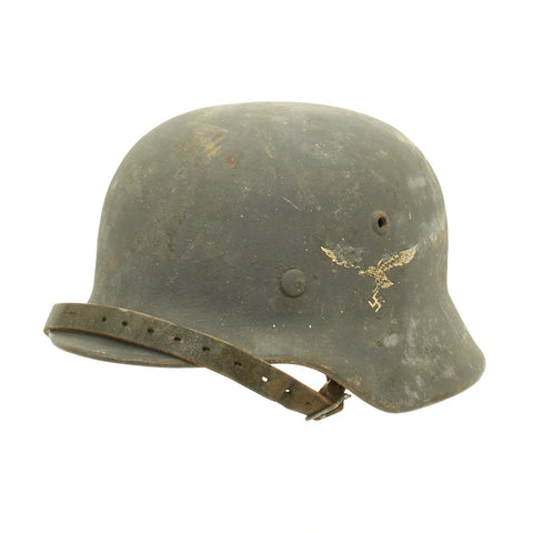 Original German WWII Luftwaffe M35 Single Decal Helmet with Textured Paint - Q64