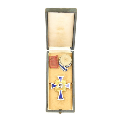 Original German WWII Mother's Cross in Gold in Case by Seiboth Gablonzan
