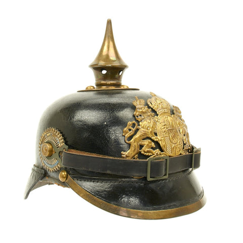 Original German WWI Bavarian Model 1896 Line Infantry Pickelhaube Helmet - dated 1910