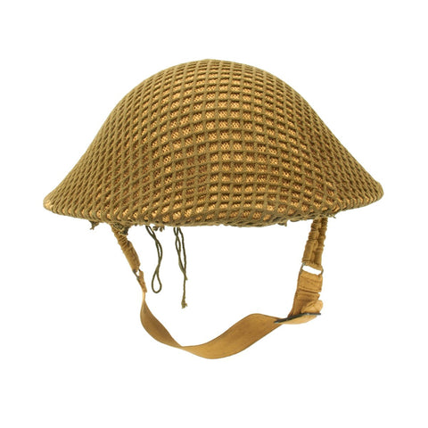 Original Canadian WWII Brodie MkII Steel Helmet with Burlap and Net by Canadian Motor Lamp Co. - Dated 1941