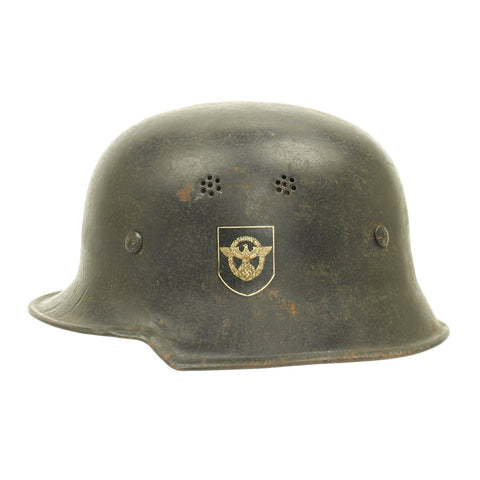 Original German WWII M34 Square Dip NSDAP Civic Police Helmet - Double Decal