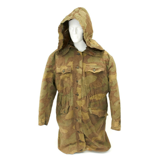 Original German WWII SS Italian Camouflage M1943 Winter Uniform Parka - Rabbit Fur