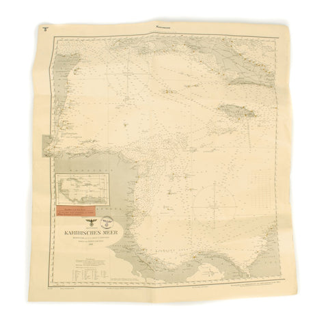 Original German WWII Kriegsmarine U-Boat Map of Caribbean Sea - Battle of the Caribbean
