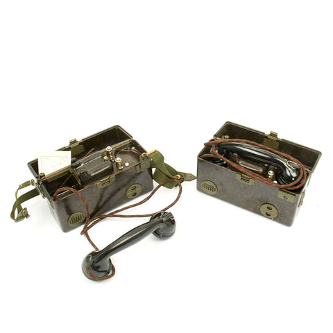 Original Czech WWII Style TP 25 Field Telephones by Tesla (Set of 2) - NOS Condition