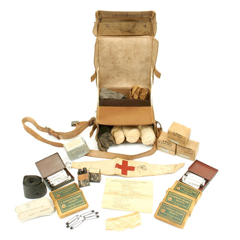 Original German WWII Field Medic First Aid Set in Leather Medic Bag