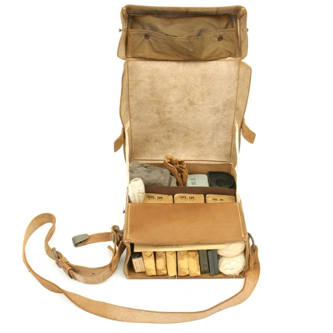 Original German WWII Field Medic First Aid Set in Leather