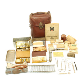 Original German WWII Field Medic First Aid Medical Set in Leather Medic Bag - Complete