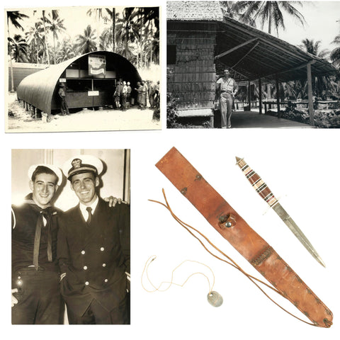 Original U.S. WWII Customized Case V-42 Stiletto Knife and Photo Grouping of Navy Officer