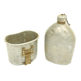 Original U.S. WWI 130th Field Artillery Named Trench Art M1910 Canteen with Cup