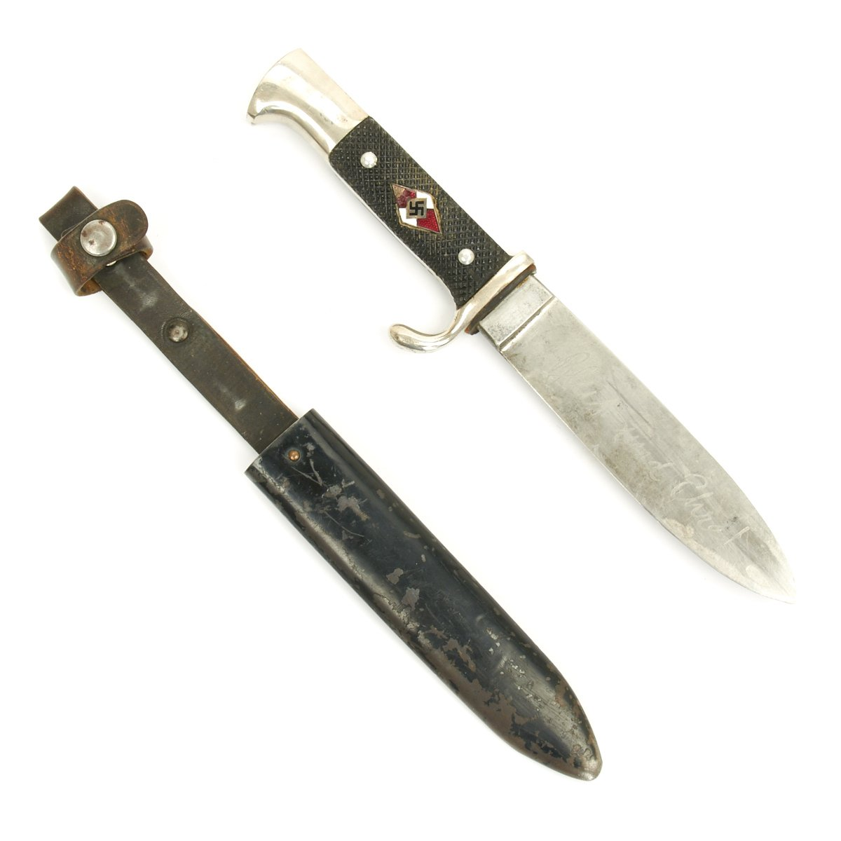 Original German WWII Youth Knife with Motto By Anton Wingen ... on