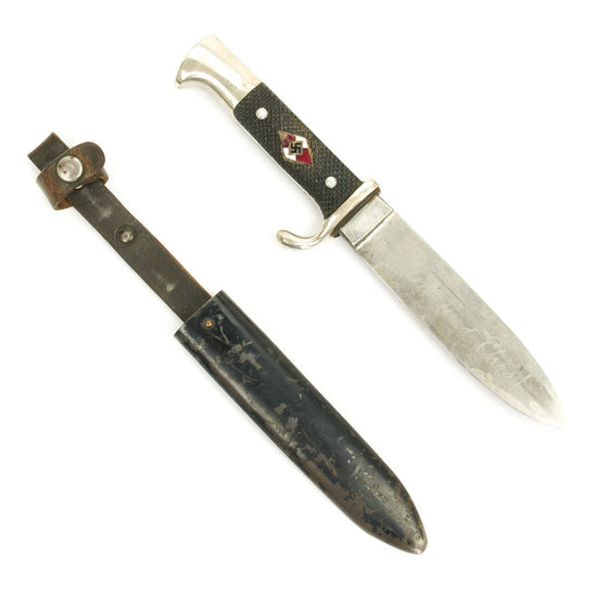 Original German WWII Hitler Youth Knife with Motto By Anton Wingen, Jr. Solingen - RZM M7/51 1937