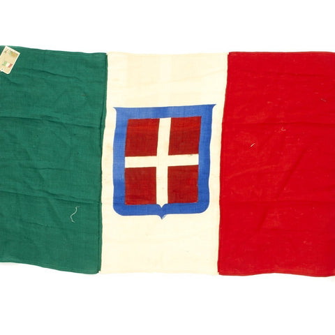 Original Italian WWII National Flag with Maker Tag - 80cm x 120cm