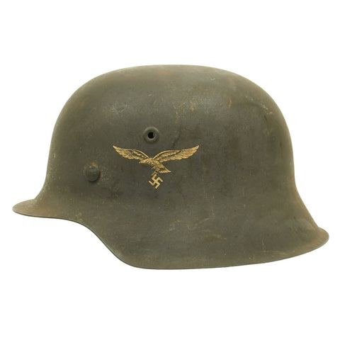 Original German WWII M42 Single Decal Luftwaffe Helmet - NS64