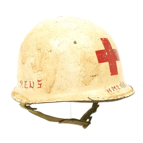 Original WWII U.S. Medic Schlueter Rear Seam M1 Helmet with Westinghouse Liner