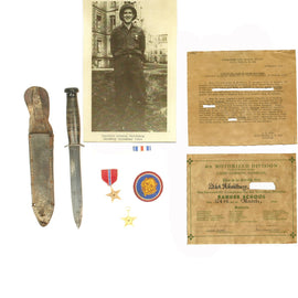 Original U.S. WWII Army Ranger Bronze and Silver Star Named Knife Grouping - 106th Infantry Division