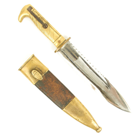 Original German WWI Trench Knife with Scabbard made from Mauser 1871 Pioneer Sawback Bayonet