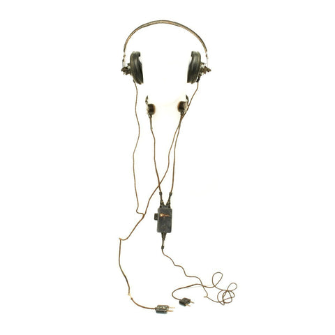 Original German WWII Panzer Armored Vehicle Model B Headphones with Throat Mic