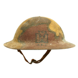 Original U.S. WWI A.E.F. 503rd Engineer Battalion M1917 Helmet with Camouflage Textured Paint