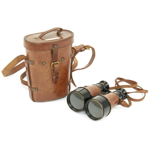 Original British WWI Upmarket Officer's Field Glasses in Leather Case named to Lt. Gen. H.S. Rawlinson - dated 1916