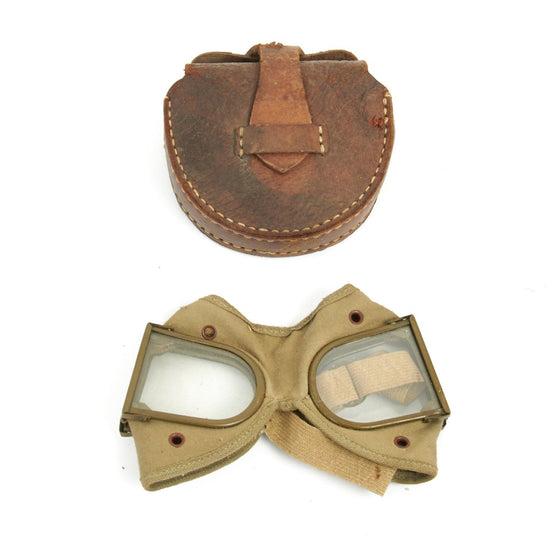 Original Japanese WWII Folding Tanker Goggles with Leather Case - Unissued