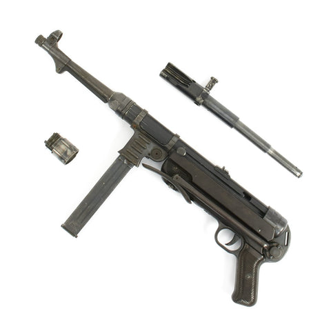 Original German WWII MP 40 Display Gun by Steyr with Internals and Live Barrel - Matching Numbers and Dated 1942