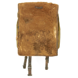 Original German WWII Tornister 34 Cowhide Backpack with Shoulder Straps - Dated 1937