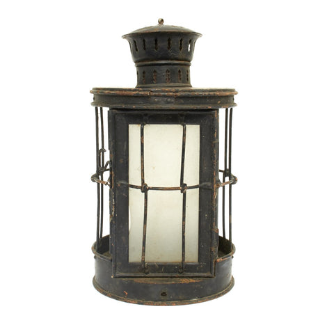 Original British WWI Glazed Glass Bottom Trench Lantern by Christopher Collins - Dated 1916