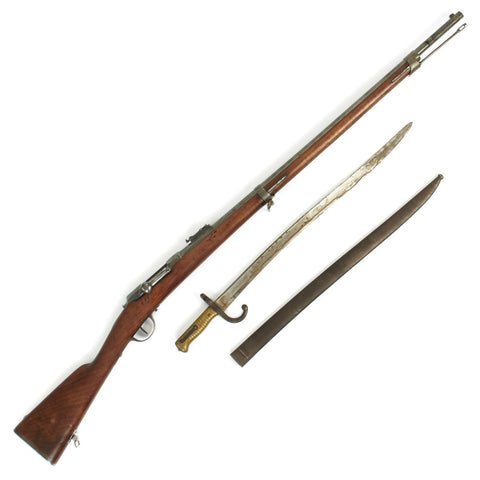 Original French MLE 1866-74 Gras Converted Rifle with Saber Bayonet and Scabbard - Dated 1868