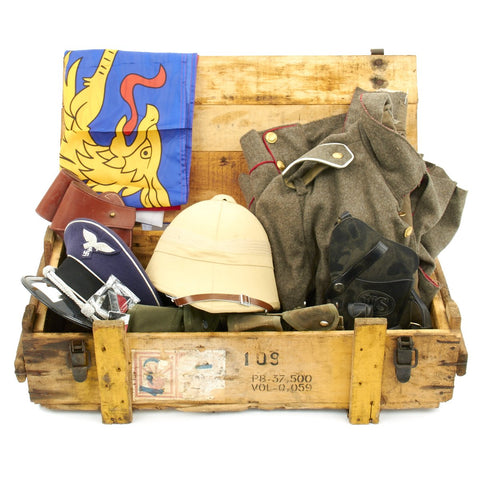 Trunk of Assorted Grade 2 Original Military Antiques and Reproductions - Box 2 Original Items