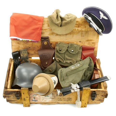 Trunk of Assorted Grade 2 Original Military Antiques and Reproductions - Box 6 Original Items