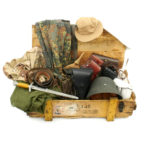 Trunk of Assorted Grade 2 Original Military Antiques and Reproductions - Box 8 Original Items