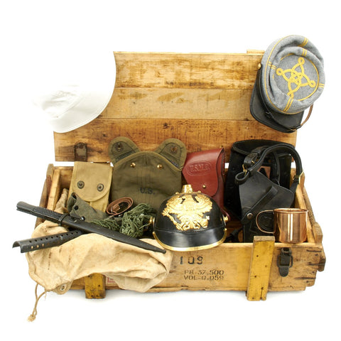 Trunk of Assorted Grade 2 Original Military Antiques and Reproductions - Box 9