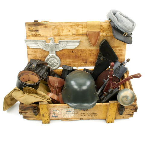 Trunk of Assorted Grade 2 Original Military Antiques and Reproductions - Box 10 Original Items