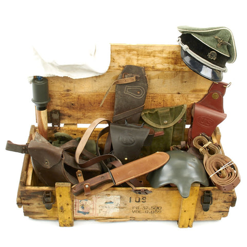 Trunk of Assorted Grade 2 Original Military Antiques and Reproductions - Box 11